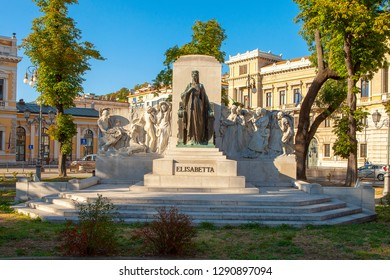 TRIESTE, ITALY- JUNE 16, 2018: Sculpture of Elisabetta. North Italy. Bronze statue of Sissy, empress of Austria. Build in the small park next to the central railway station