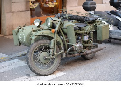 Trieste, ITALY - JUNE 19, 2014: Old Soviet Russian IMZ M-72 motorbike (unlicensed copy of German BMW R 71) on the city street