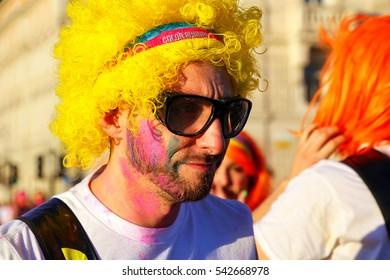 TRIESTE, ITALY - JUNE 20: Unidentified man (portrait) takes part in The Color Run on June 20, 2015 in Trieste, Italy. Trieste is the capital of the autonomous region Friuli-Venezia Giulia