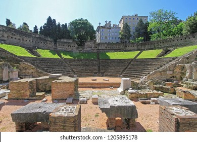 Trieste, Italy - May 18, 2010: Ancient Roman Theatre From First Century Teatro Romano in Trieste, Italy.