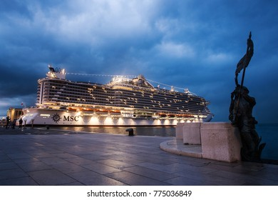 TRIESTE, ITALY - NOVEMBER, 2017: New conustruction msc seaside waiting to depart in blue hour, Trieste