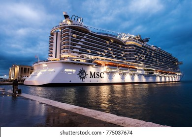 TRIESTE, ITALY - NOVEMBER, 2017: New construction msc seaside waiting to depart in blue hour Trieste