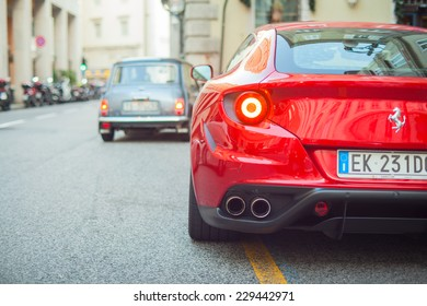 TRIESTE, ITALY - OCTOBER, 04: View of red Ferrari FF in the Trieste street on October 04, 2014