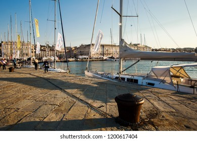 TRIESTE, ITALY - OCTOBER 10, 2018: sailboat Barcolana regatta, the second week of october in Trieste, Italy
