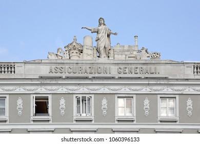 TRIESTE, ITALY - OCTOBER 13, 2014: Assicurazioni Generali Insurance Company Building in Trieste, Italy.