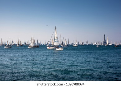 TRIESTE, ITALY - OCTOBER, 2018: Sailboats during the 50° Barcolana regatta in Trieste on October 14, 2018