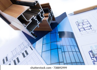Trieste, Italy - October  21th 2017:  Aluminum  profile with Architectural drawing and technical design