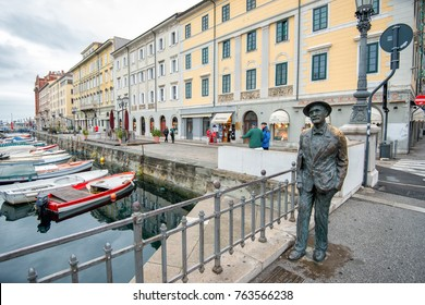 TRIESTE, ITALY - OCTOBER 6: Statue of James Joyce at Grand Canal on October 6, 2013 in Trieste. Joyce lived in this a historic seaport city in northeastern Italy during the early 20th century.