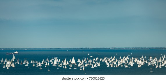 Trieste, Italy. Over 2000 of sails boat in the Adriatic sea during the Barcolana regatta 2017. The Biggest sail boat regata in the world.