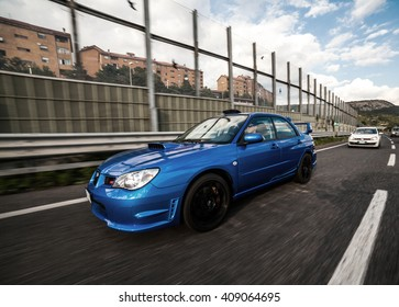 Trieste, Italy - SEPTEMBER 3, 2013: Photo of Subaru Impreza STI  2006 Version. The 3rd generation of the high performance STI debuted in October 2006.