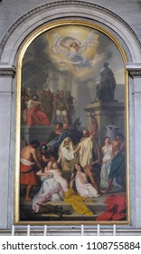 TRIESTE, ITALY - SEPTEMBER 30: Martyrdom of the Saints of Aquileia by Ludovico Lipparini, altarpiece in the church Sant'Antonio Nuovo in Trieste, Italy, on September 30, 2017.