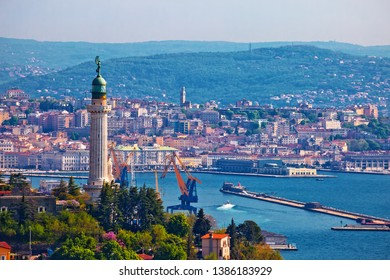 Trieste lighthouse and cityscape panoramic view, Friuli Venezia Giulia region of Italy
