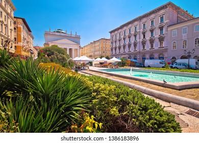 Trieste Piazza Sant Antonio Nuovo fountain and church colorful view, Friuli Venezia Giulia region of Italy