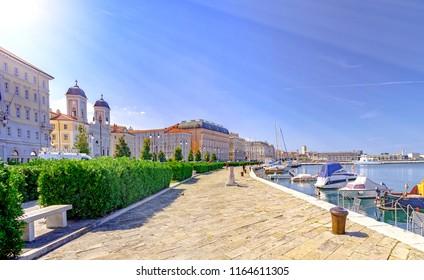 Trieste promenade and small port in Italy by Adriatic sea