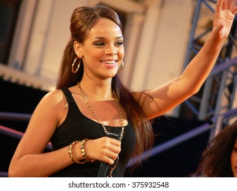 TRIESTE/ITALY - CIRCA JUNE 2006: Popstar Rihanna during one of her first appearances, performing the song SOS at Festivalbar television show in italy. Credit: Dino Geromella / Shutterstock