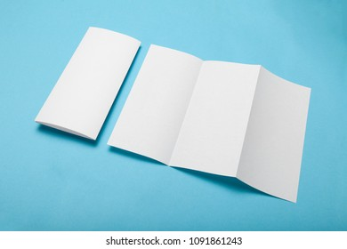 Trifold paper menu, brochure mockup. DL flyer.