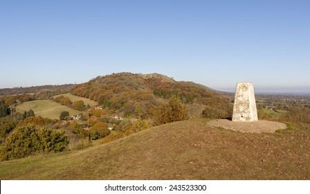 The Trig Point atop Chase End Hill, Malvern Hills, UK.
