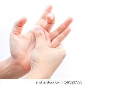 Trigger Finger Caused by People working on computer screens have been using smartphones for a long time. locking finger ( stenosing tenosynovitis disorder ) patient and catching of finger problem.