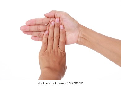 Trigger finger.Woman stretching finger isolated on white background.
