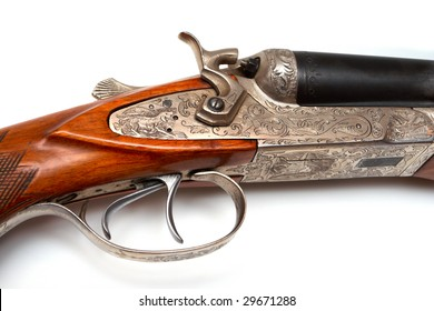 trigger of old-fashioned classic style rifle made of silver