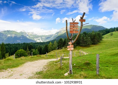 Triglav national natural Park in Slovenia. Index of Hiking trails for tourists. Beautiful mountain landscape in the Julian Alps.