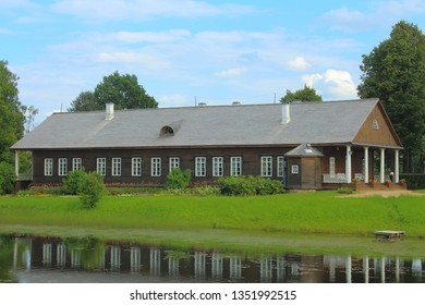 TRIGORSKOYE, PUSHKINSKIYE GORY, PSKOV REGION, RUSSIA - August 16, 2017: The House-museum of Osipov-Vulf in The estate of Trigorskoye - famous russian poet Alexander Pushkin neighbors.