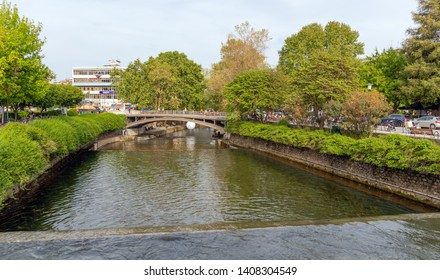 TRIKALA, GREECE - APRIL 26: Litheos river and central bridge on April 26, 2019 in Trikala, Greece. Trikala is a city in northwestern Thessaly.