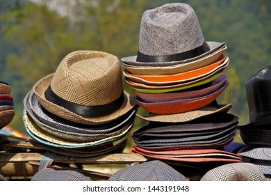Trilby hats on display for sale in Nepal