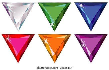 Trillion cut precious stones with sparkle (raster). Vector version is available in portfolio.