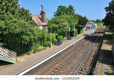 TRIMLEY, SUFFOLK/UK - June 9, 2018. Trimley railway station (serving the village of Trimley St Mary), on the Felixstowe branch, Suffolk, England