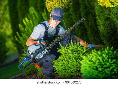 Trimming Works in a Garden. Professional Gardener with His Pro Garden Equipment During His Work. Gasoline Plants Trimmer Equipment.