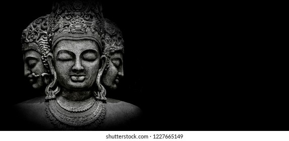 Trimurti shiva with black background