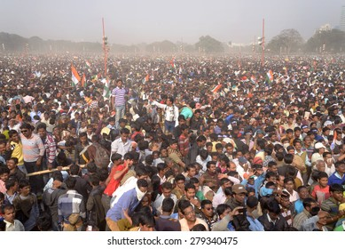 Trinamool Congress activist, member and follower gather from all over West Bengal gather at Brigade Parade ground on occasion of rally led by Mamata Banerjee on January 30, 2014 in Calcutta, India.