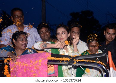 Trinamool Congress or TMC candidate for Jadavpur constituency Mimi Chakraborty greets local people during election campaign rally ahead of Lok Sabha Election 2019 on April 05, 2019 in Calcutta, India.