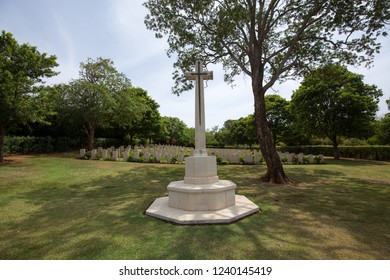 Trincomalee, Sri Lanka - August 20, 2018: A monument on the British military cemetery for soldiers of the British Empire who were killed or died during World War II