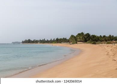 Trincomalee, Sri Lanka - August 20, 2018: An untouched sand beach in Nilaveli district