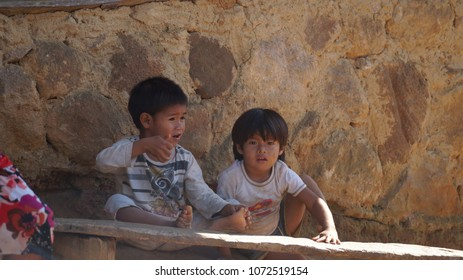 Trindade / Brazil - June 2015: Poor kids in a village.