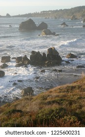 Trinidad Bay and offshore rocks, looking south, Trinidad, California, USA