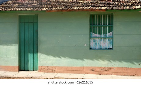 TRINIDAD CITY, CUBA - NOVEMBER 2016: View of houses and street of Trinidad, Cuba. Trinidad is Cuba's best preserved colonial town, a UNESCO heritage site since 1988.