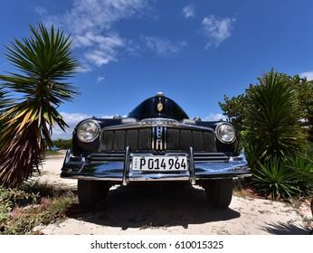 TRINIDAD - CUBA / 01.03.2017: Mercury eight, classic old american car, taxi at Ancon Beach