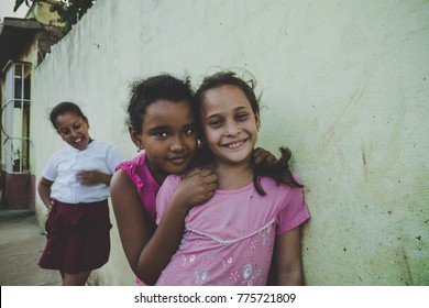 Trinidad, Cuba. 17 Feb 2017: Cuban young girls fooling around in front of the camera