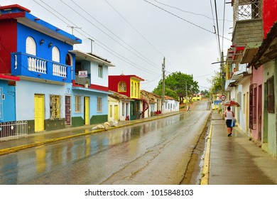 Trinidad, Cuba. Beautiful street with colorful colonial traditional houses after rain. Trinidad is a UNESCO listed city and popular destination.