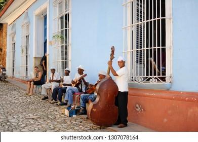 Trinidad,  Cuba - Circa Jan 2015: street musicians ready to cheer tourists