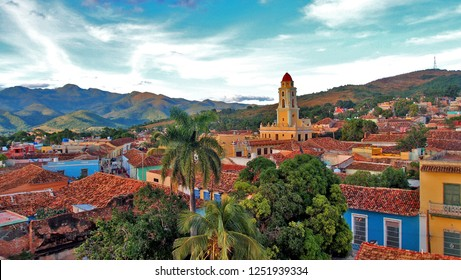 TRINIDAD, CUBA - DECEMBER, 11, 2017: Beautiful top view of the city of Trinidad in the south of the Cuban province of Sancti Spiritus