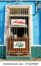TRINIDAD, CUBA, FEBRUARY 19, 2014: Mojito kiosk in Old town of Trinidad, Cuba. Trinidad is a historical town listed by UNESCO as World Heritage, it is full of colonial buildings and main tourist spot.