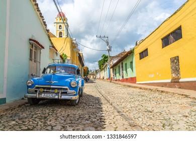 Trinidad, Cuba - Jul 4, 2016: Classic car parked on the street