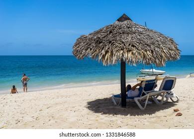Trinidad, Cuba - Jul 5, 2016: Cabana on the beach