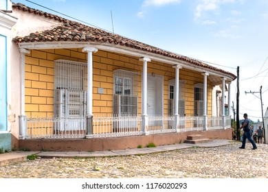Trinidad, Cuba- July 2,2018: Old vintage colonial house in the center of the colonial town. The area is a major tourist attraction and a Unesco World Heritage Site