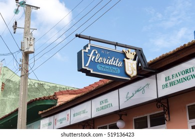 TRINIDAD, CUBA - JUNE 2, 2014: Floridita bar restaurant main sign