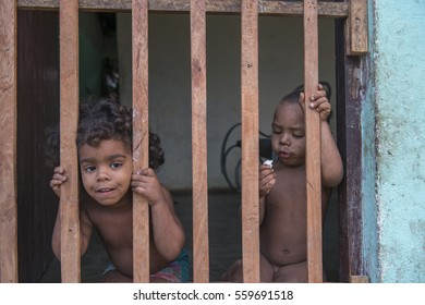 Trinidad - Cuba, March 2015: Two Cuban babies in their homes